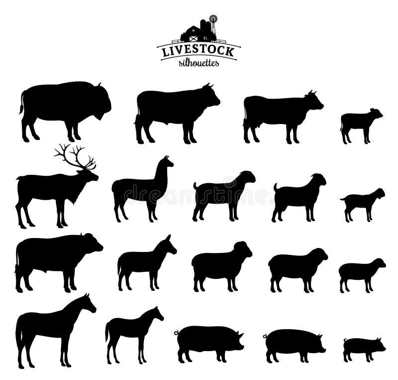 Διανυσματικές σκιαγραφίες ζωικού κεφαλαίου που απομονώνονται στο λευκό διανυσματική απεικόνιση