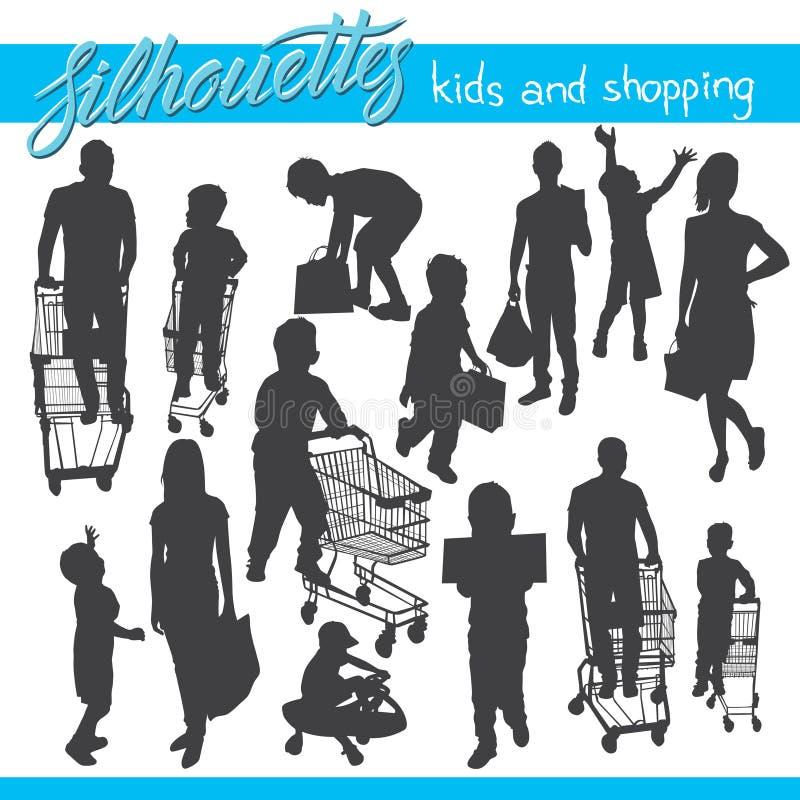 Διανυσματικές σκιαγραφίες παιδιών και αγορών ελεύθερη απεικόνιση δικαιώματος