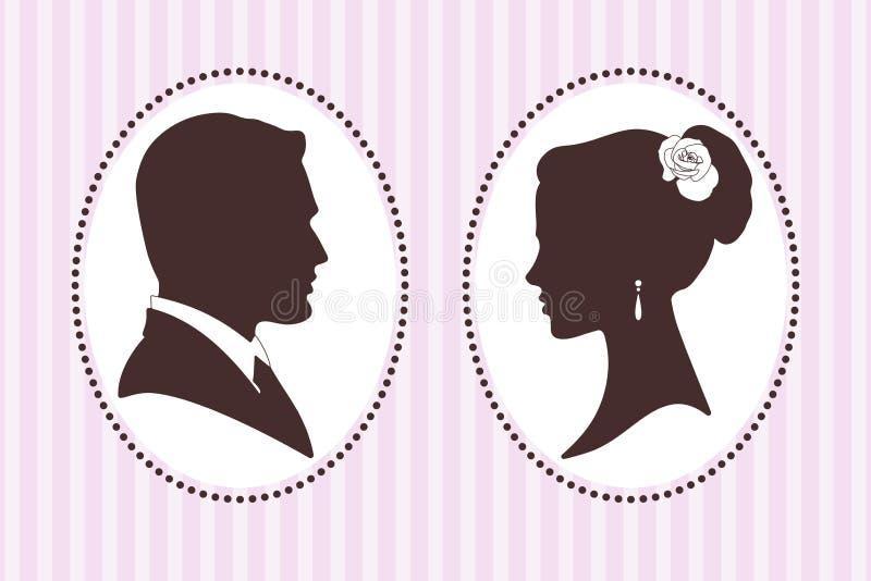 Διανυσματικές σκιαγραφίες του νεόνυμφου και της νύφης ελεύθερη απεικόνιση δικαιώματος