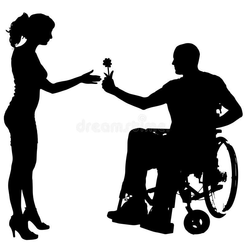 Διανυσματικές σκιαγραφίες των ανθρώπων σε μια αναπηρική καρέκλα απεικόνιση αποθεμάτων
