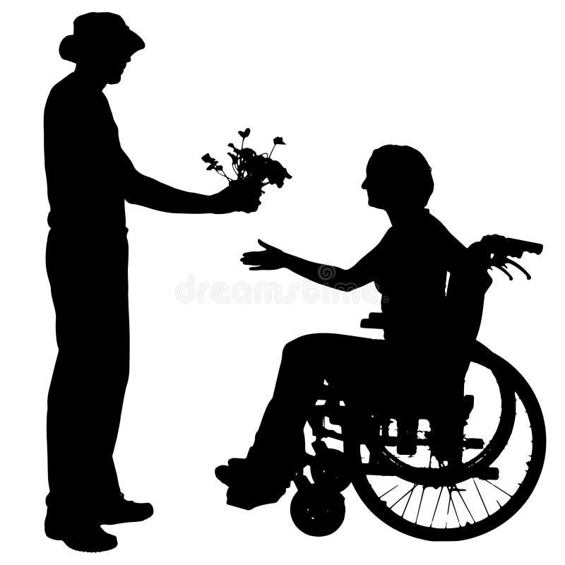 Διανυσματικές σκιαγραφίες των ανθρώπων σε μια αναπηρική καρέκλα ελεύθερη απεικόνιση δικαιώματος