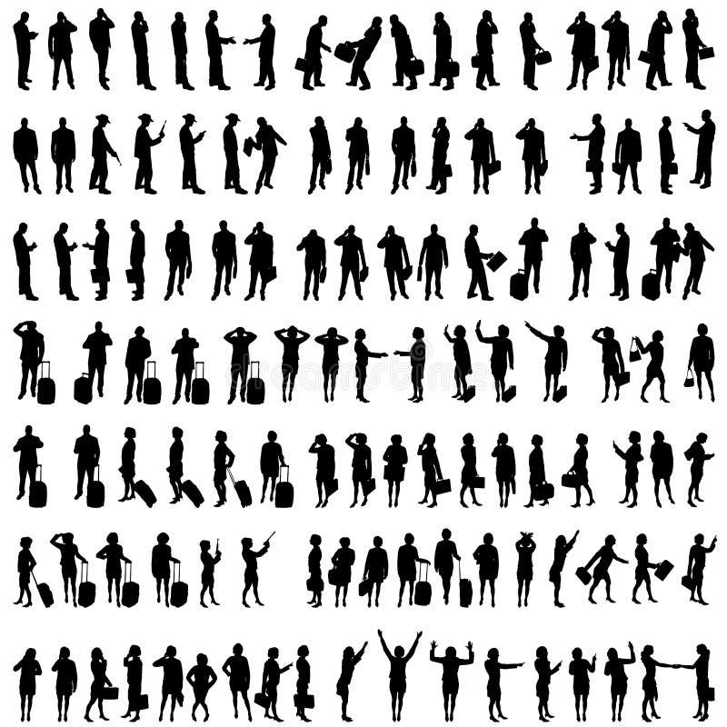 Διανυσματικές σκιαγραφίες των ανθρώπων απεικόνιση αποθεμάτων