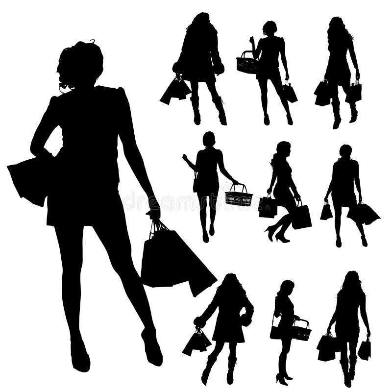 Διανυσματικές σκιαγραφίες των γυναικών απεικόνιση αποθεμάτων