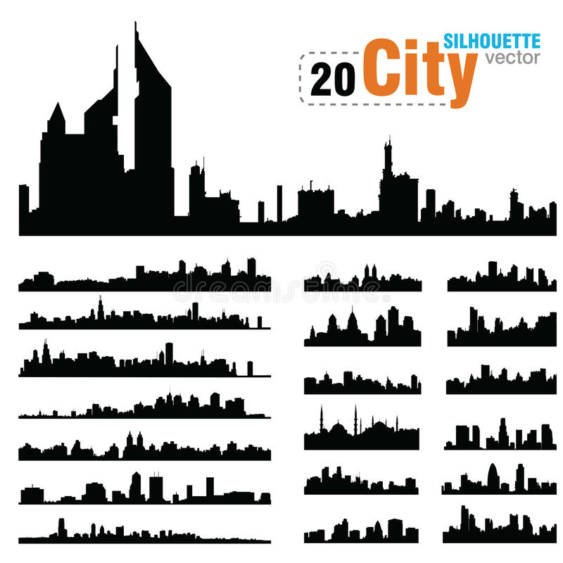 Διανυσματικές σκιαγραφίες των οριζόντων παγκόσμιων πόλεων απεικόνιση αποθεμάτων