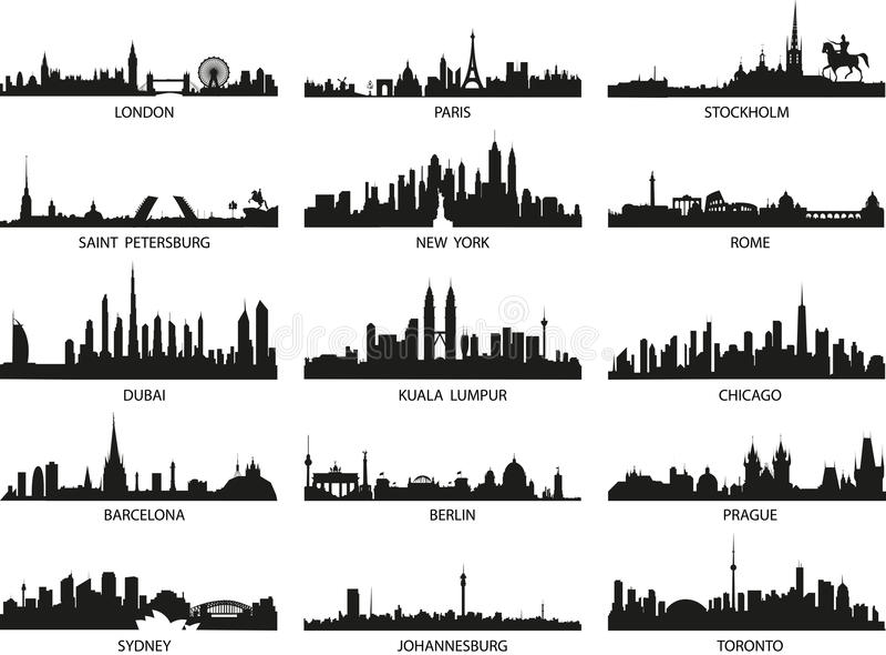 Διανυσματικές σκιαγραφίες των οριζόντων πόλεων διανυσματική απεικόνιση