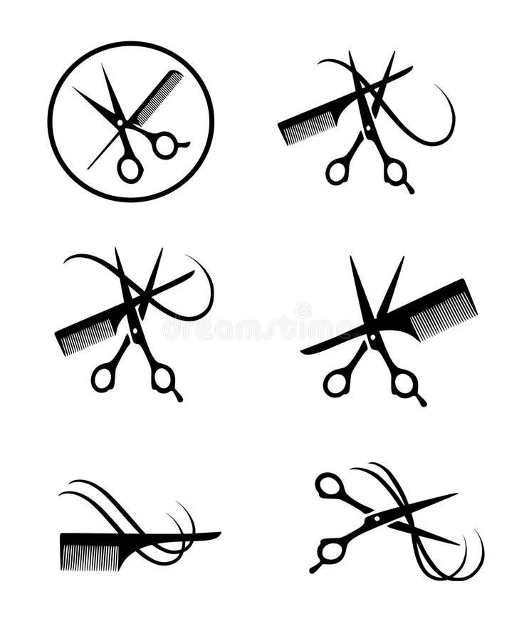 Διανυσματικές σκιαγραφίες hairdressing των εργαλείων ελεύθερη απεικόνιση δικαιώματος