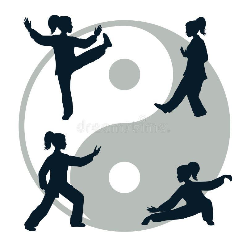 Διανυσματικές σκιαγραφίες Tai Chi διανυσματική απεικόνιση