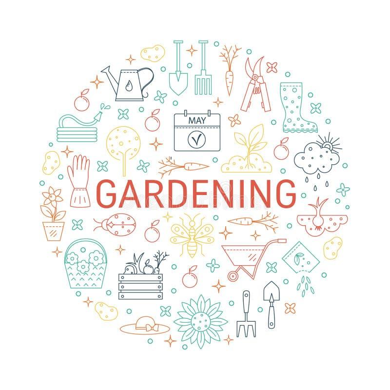 Διανυσματικές συλλογές εικονιδίων κηπουρικής απεικόνιση αποθεμάτων