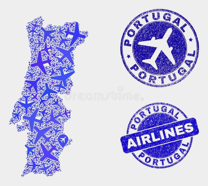Διανυσματικές σφραγίδες χαρτών και Grunge της Πορτογαλίας σύνθεσης αεροπλάνων απεικόνιση αποθεμάτων