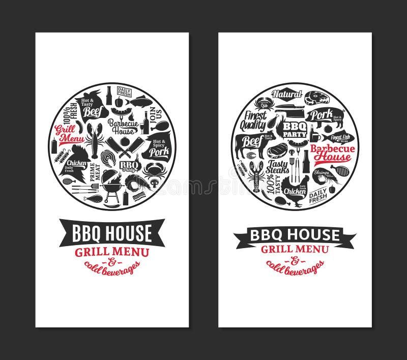 Διανυσματικές σχάρα, σχάρα και steakhouse κάρτες διανυσματική απεικόνιση