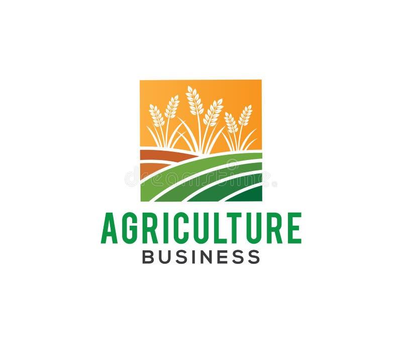Διανυσματικές σχέδιο λογότυπων και απεικόνιση της επιχείρησης γεωργίας, επιχείρηση, έρευνα, συγκομιδή, εγκαταστάσεις, τεχνολογία ελεύθερη απεικόνιση δικαιώματος