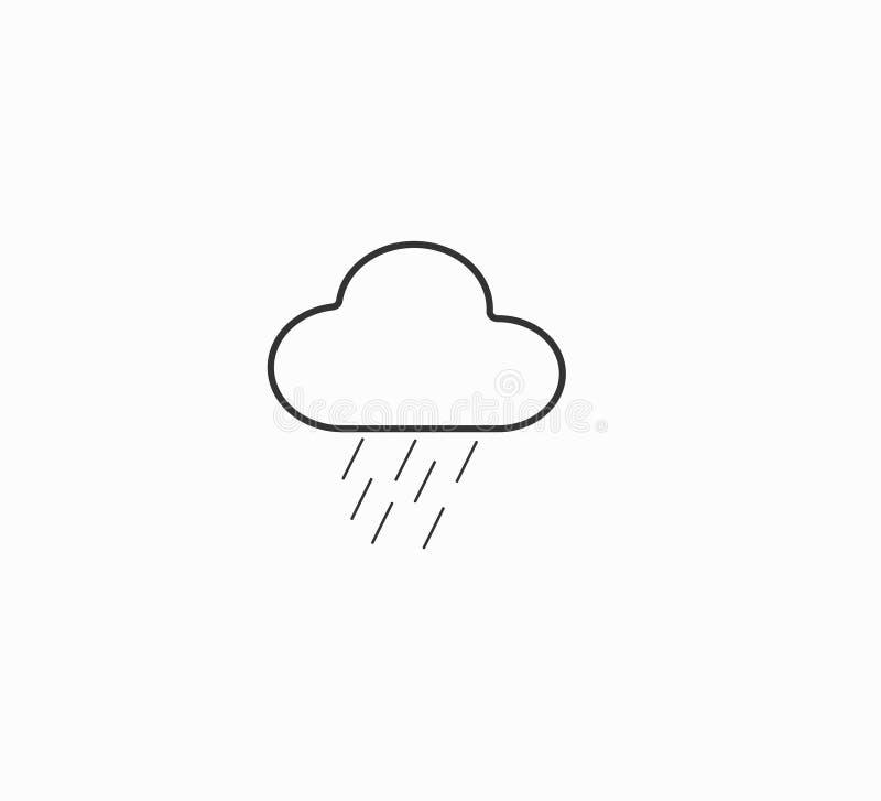 Διανυσματικές σύννεφο εικονιδίων και βροχή - βροχερός, νεφελώδης καιρός διανυσματικών εικονιδίων σύννεφων πρόγνωσης καιρού - διανυσματική απεικόνιση