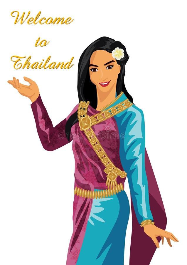 Διανυσματικές ταϊλανδικές γυναίκες σε ένα άσπρο υπόβαθρο απεικόνιση αποθεμάτων