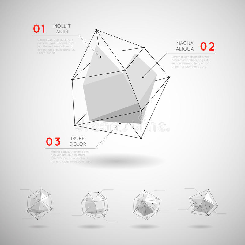 Διανυσματικές χαμηλές πολυ polygonal γεωμετρικές μορφές ελεύθερη απεικόνιση δικαιώματος
