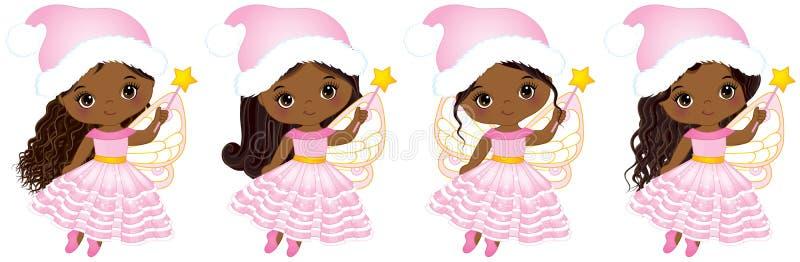 Διανυσματικές χαριτωμένες νεράιδες λίγων Χριστουγέννων με το μαγικό πέταγμα ράβδων απεικόνιση αποθεμάτων