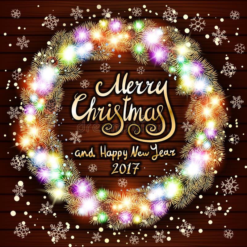 Διανυσματικές Χαρούμενα Χριστούγεννα και καλή χρονιά 2017 Καμμένος στεφάνι Χριστουγέννων φιαγμένο από οδηγημένα φω'τα στο ξύλινο  ελεύθερη απεικόνιση δικαιώματος