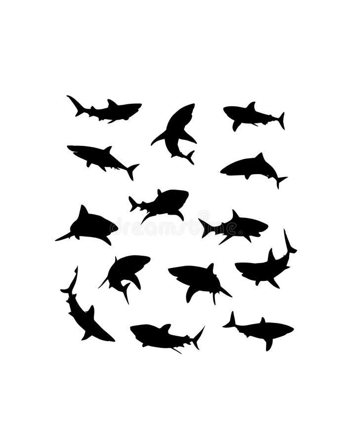 Διανυσματικές hand-drawn σκιαγραφίες καρχαριών διανυσματική απεικόνιση