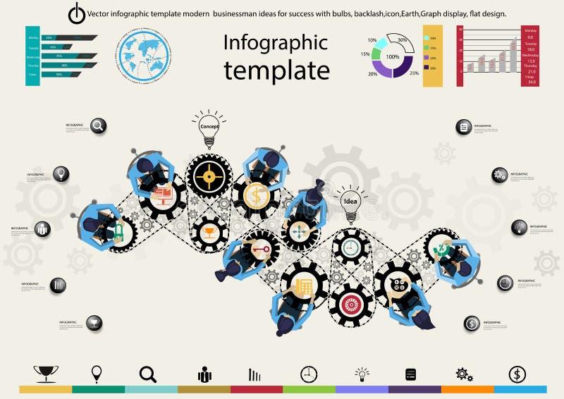 Διανυσματικές infographic ιδέες επιχειρηματιών προτύπων σύγχρονες για την επιτυχία με τους βολβούς, σπασμωδική κίνηση, εικονίδιο, ελεύθερη απεικόνιση δικαιώματος