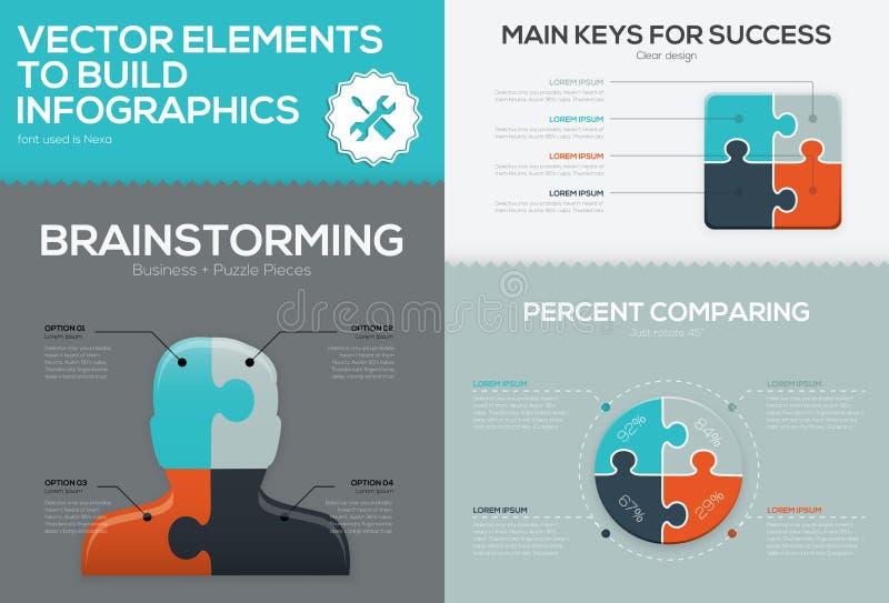 Διανυσματικές infographic σύνολο επιχειρησιακών τορνευτικών πριονιών και έννοια κομματιού γρίφων απεικόνιση αποθεμάτων
