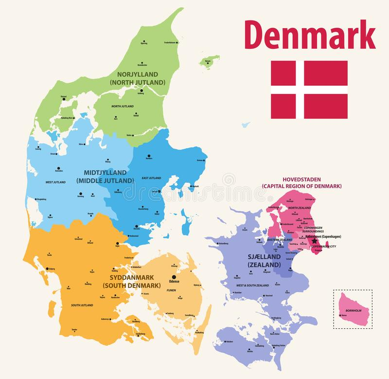 Διανυσματικές pf Δανία χαρτών επαρχίες που χρωματίζονται από τις περιοχές με τις κύριες πόλεις σε το διανυσματική απεικόνιση