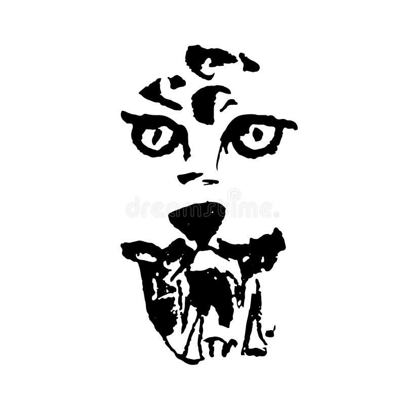 Διανυσματικήης απεικόνιση της λεοπάρδαλης με το χαμόγελο Απλό αρπακτικό πορτρέτο grunge απεικόνιση αποθεμάτων