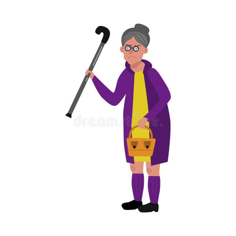 Διανυσματικήη ηλικιωμένη γυναίκα με τον κάλαμο ελεύθερη απεικόνιση δικαιώματος