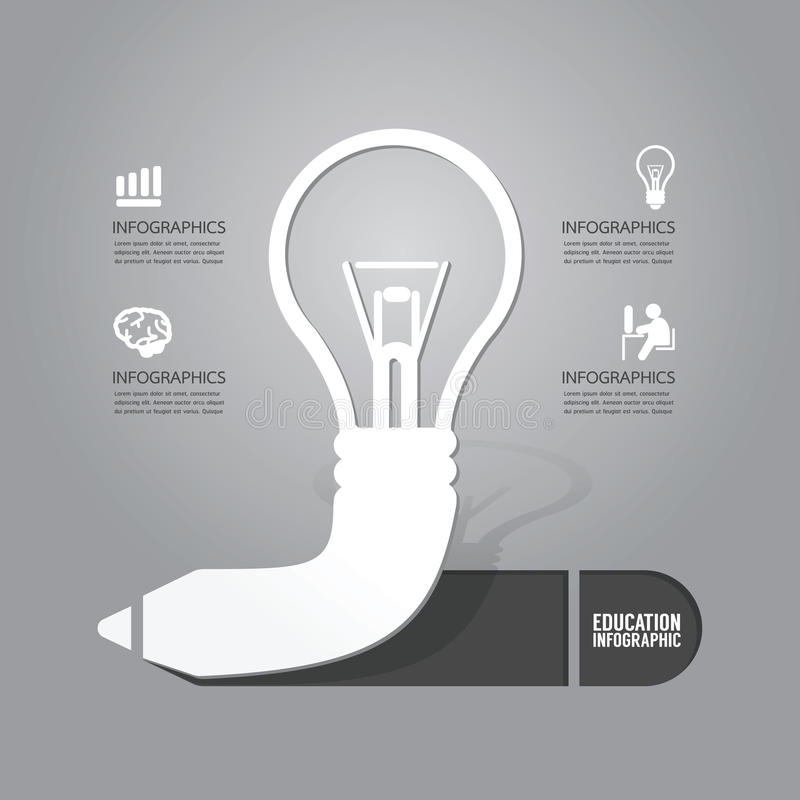 Διανυσματική λάμπα φωτός με την έννοια εικονιδίων μολυβιών της ιδέας Σχέδιο διανυσματική απεικόνιση