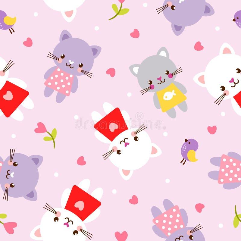 Διανυσματική άνευ ραφής απεικόνιση με τα γατάκια Εικόνα στα παιδιά ` s, ύφος κινούμενων σχεδίων διανυσματική απεικόνιση