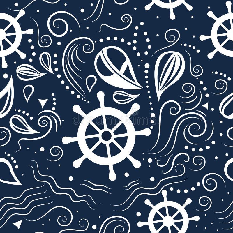 Διανυσματική άνευ ραφής θαλάσσια ζωή σχεδίων απεικόνιση αποθεμάτων