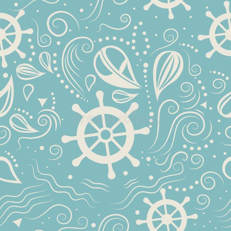 Διανυσματική άνευ ραφής θαλάσσια ζωή σχεδίων διανυσματική απεικόνιση