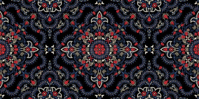Διανυσματική άνευ ραφής τυπωμένη ύλη Bandana διακοσμήσεων Paisley, κρανίων και κόκκαλων, μαντίλι λαιμών υφάσματος ή τετραγωνικός  ελεύθερη απεικόνιση δικαιώματος