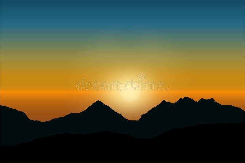 Διανυσματική άποψη της ανατολής στο δραματικό γαλαζοπράσινο ουρανό πέρα από το τοπίο βουνών διανυσματική απεικόνιση
