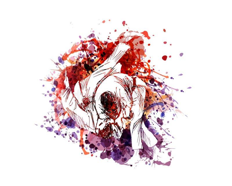 Διανυσματική έγχρωμη εικονογράφηση των μαχητών τζούντου ελεύθερη απεικόνιση δικαιώματος