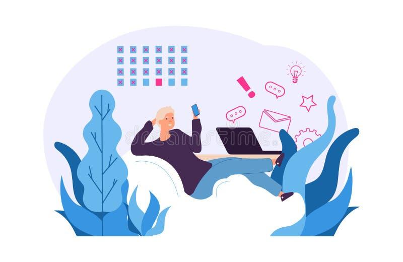 Διανυσματική έννοια αναβλητικότητας Το άτομο αναβάλλει την εργασία για αργότερα απεικόνιση αποθεμάτων