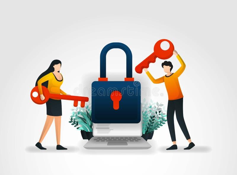 Διανυσματική έννοια απεικόνισης οι άνθρωποι κρατούν το κλειδί στην προσπάθεια να εισαχθεί και να ξεκλειδωθεί η ασφάλεια εφαρμογής διανυσματική απεικόνιση