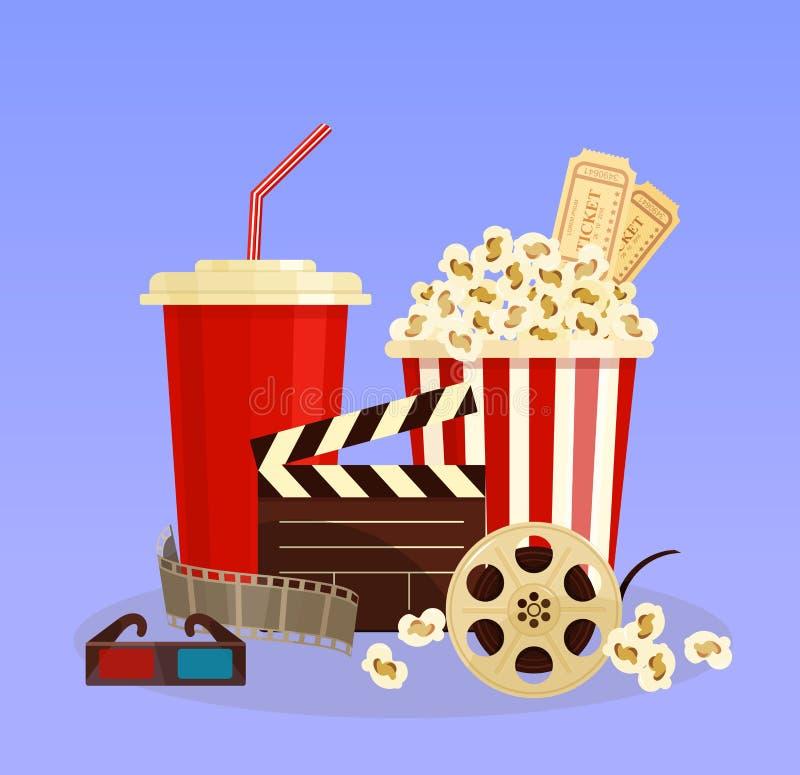 Διανυσματική έννοια απεικόνισης του κινηματογράφου popcorn, τρισδιάστατα γυαλιά και κινηματογραφία ταινία-λουρίδων στο επίπεδο ύφ διανυσματική απεικόνιση