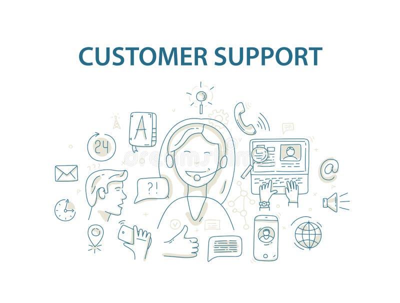 Διανυσματική έννοια απεικόνισης ύφους Doodle για την υπηρεσία υποστήριξης πελατών διανυσματική απεικόνιση