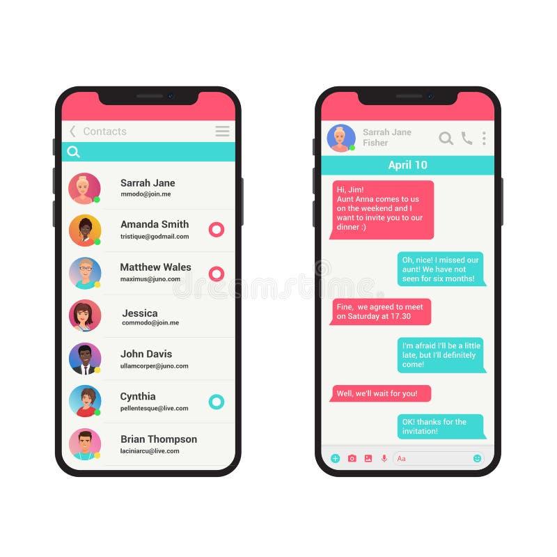 Διανυσματική έννοια απεικόνισης Chating και μηνύματος Κοινωνικό σύγχρονο smartphone αγγελιοφόρων δικτύων που απομονώνεται απεικόνιση αποθεμάτων