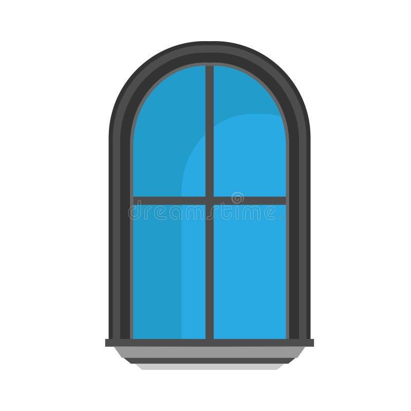 Διανυσματική έννοια αρχιτεκτονικής μπροστινής άποψης γυαλιού παραθύρων Εσωτερική δομή δωματίων επίπλων κινούμενων σχεδίων επίπεδη διανυσματική απεικόνιση