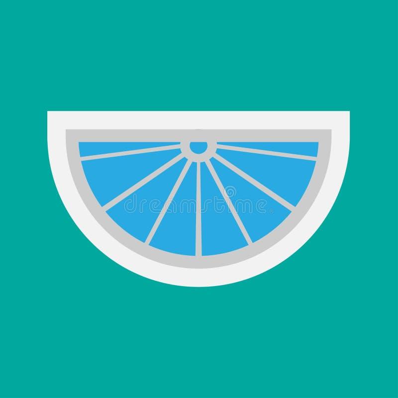 Διανυσματική έννοια αρχιτεκτονικής μπροστινής άποψης γυαλιού παραθύρων Εσωτερική δομή δωματίων επίπλων κινούμενων σχεδίων επίπεδη απεικόνιση αποθεμάτων