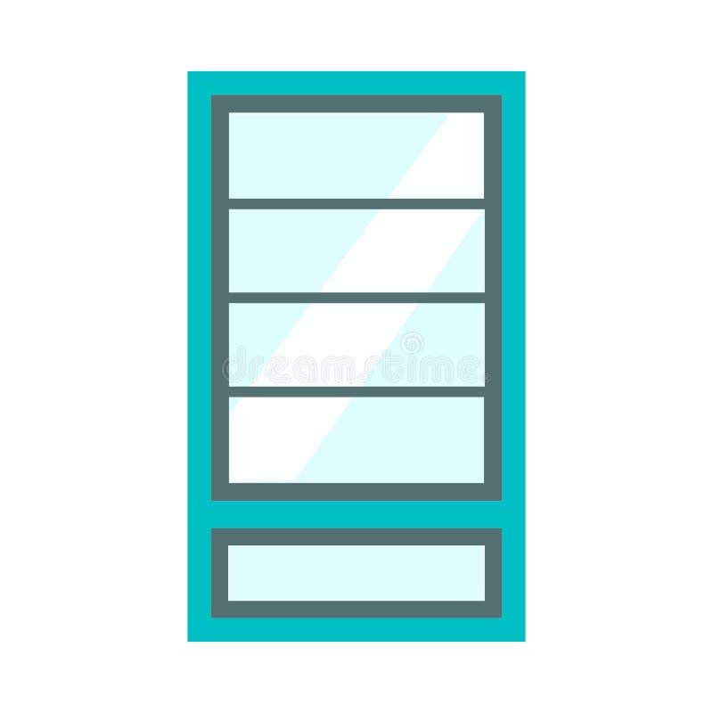 Διανυσματική έννοια αρχιτεκτονικής μπροστινής άποψης γυαλιού παραθύρων Εσωτερική δομή δωματίων επίπλων κινούμενων σχεδίων επίπεδη ελεύθερη απεικόνιση δικαιώματος