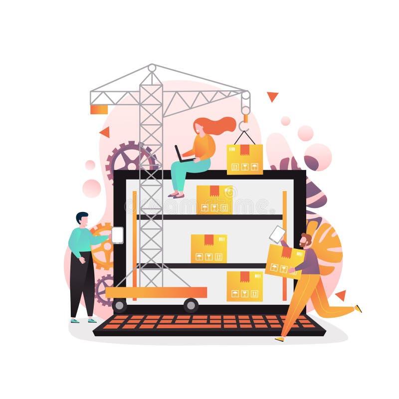 Διανυσματική έννοια διοικητικού λογισμικού αποθηκών εμπορευμάτων γι διανυσματική απεικόνιση