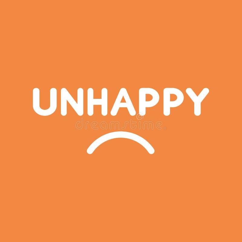 Διανυσματική έννοια εικονιδίων της δυστυχισμένης λέξης με το στόμα στο πορτοκάλι διανυσματική απεικόνιση