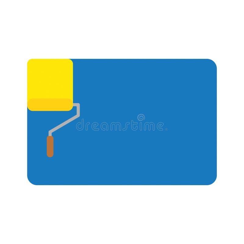 Διανυσματική έννοια εικονιδίων της κίτρινης βούρτσας κυλίνδρων χρωμάτων που χρωματίζει το μπλε W απεικόνιση αποθεμάτων