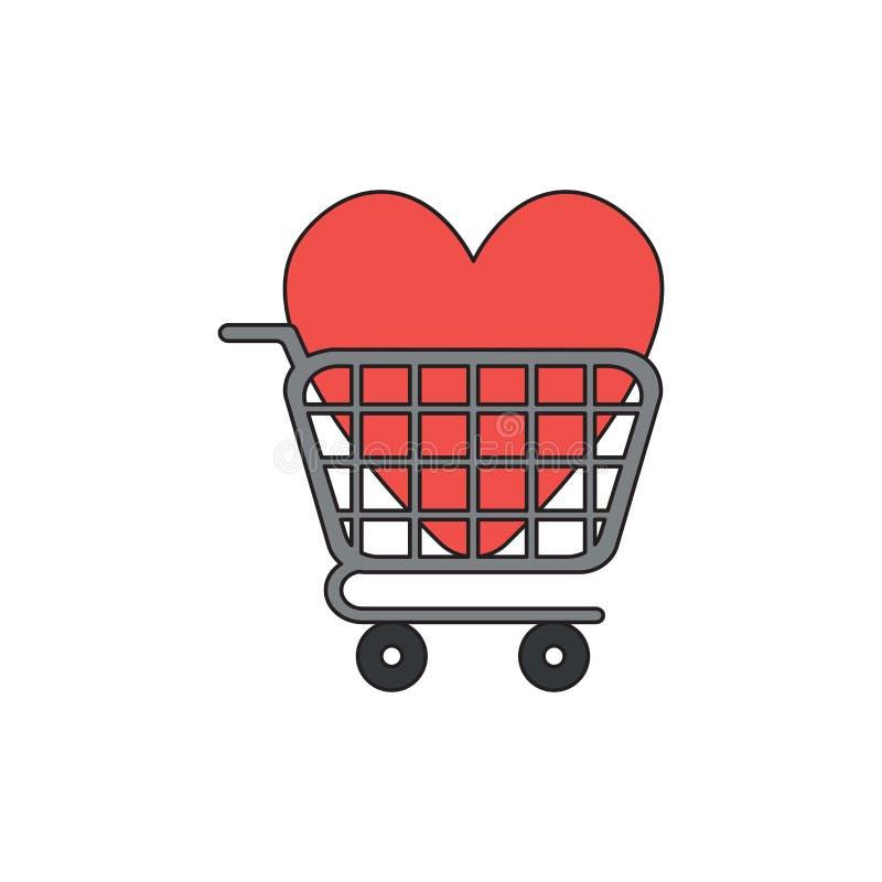 Διανυσματική έννοια εικονιδίων της καρδιάς μέσα στο κάρρο αγορών απεικόνιση αποθεμάτων