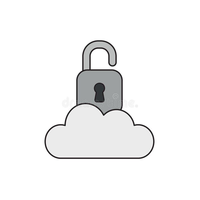 Διανυσματική έννοια εικονιδίων του ανοιγμένου λουκέτου στο σύννεφο διανυσματική απεικόνιση