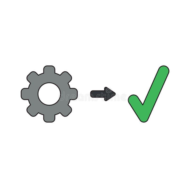 Διανυσματική έννοια εικονιδίων του εργαλείου με το σημάδι ελέγχου διανυσματική απεικόνιση