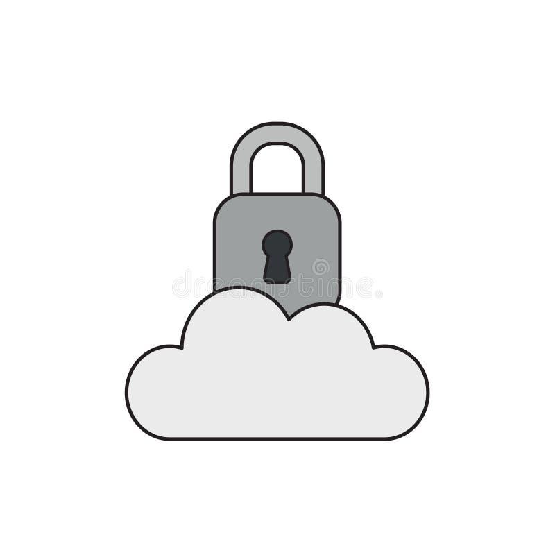 Διανυσματική έννοια εικονιδίων του κλειστού λουκέτου στο σύννεφο διανυσματική απεικόνιση