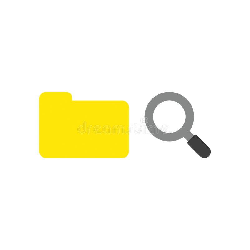 Διανυσματική έννοια εικονιδίων του κλειστού φακέλλου αρχείων με την ενίσχυση - γυαλί ελεύθερη απεικόνιση δικαιώματος