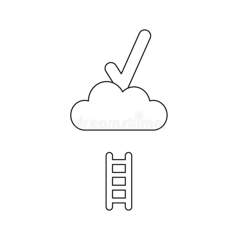 Διανυσματική έννοια εικονιδίων του σημαδιού ελέγχου στο σύννεφο με την κοντή ξύλινη σκάλα r απεικόνιση αποθεμάτων